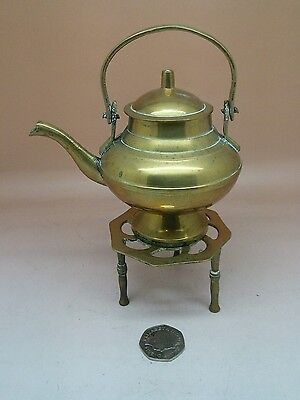 Brass Vintage Miniature Ornate Kettle And Trivet Stand