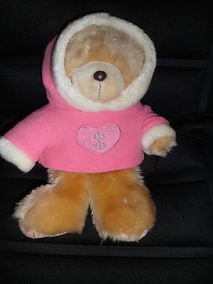 "Forever friends soft, cute,12"" christmas teddy bear in pink/white hoody,Hallmark"