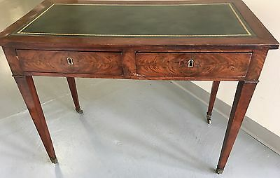 Antique  English Writing Table Mahogany  Leather Top