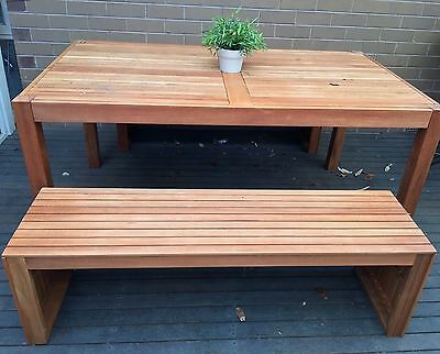Outdoor Bench and Table Set 3pc Garden BBQ Eucalyptus Timber Wooden Furniture