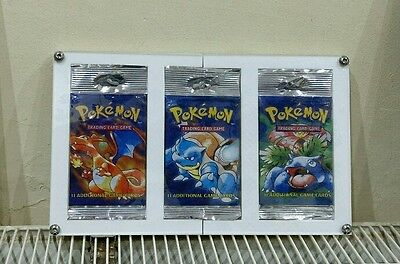 Pokemon Base Set long tab boosters sealed in custom made display all 3 art works