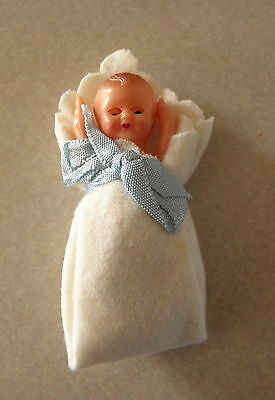 """Vintage 2 1/2"""" Celluloid Baby Doll w Sleep Eyes Jointed Made in Italy"""