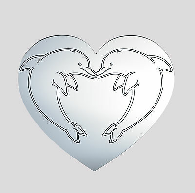 Heart shape acrylic mirror engraved with Dolphins, decorative home accessory
