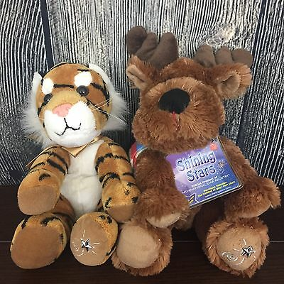 (2) Shining Stars Plush Tiger And Reindeer! Reindeer Still With Tags Russ