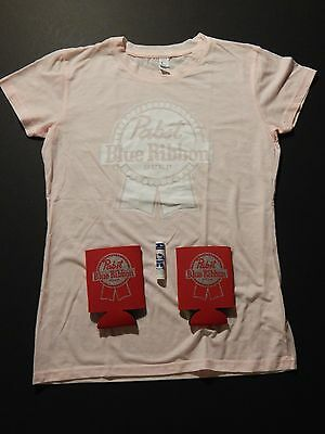 Pink Ladies L PABST BLUE RIBBON beer soft womens shirt + chapstick can coolers