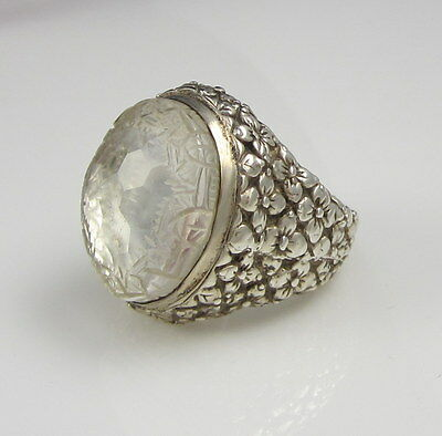 Stunning Signed Stephen Dweck Sterling Silver Carved Clear Quartz Flower Ring