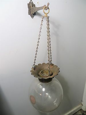 Vintage Hanging APOTHECARY Show Globe Drugstore Pharmacy Jar Bottle & Bracket