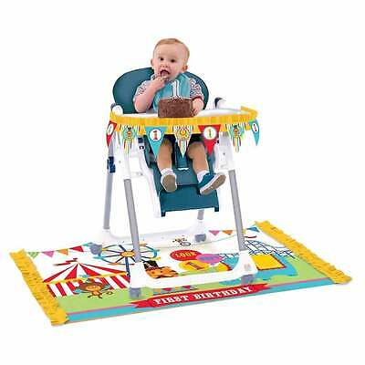 Fisher-Price First Birthday Circus 2 Piece Highchair Kit - NEW