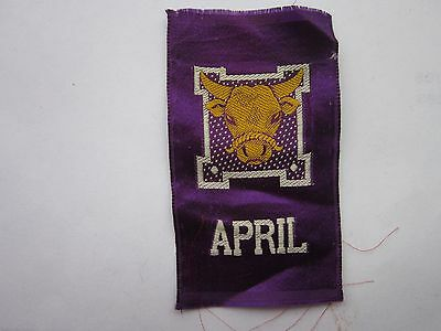 APRIL,  I.T.C. CANADIAN MISCELLANY SERIES vintage tobacco silk  1912