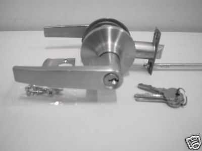 Door  lock and handle Lever handle with key   50 W (  Satin Chrome)