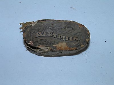 Antique Pill Tin-Box Ayer's Vegetable Pills Wooden Box