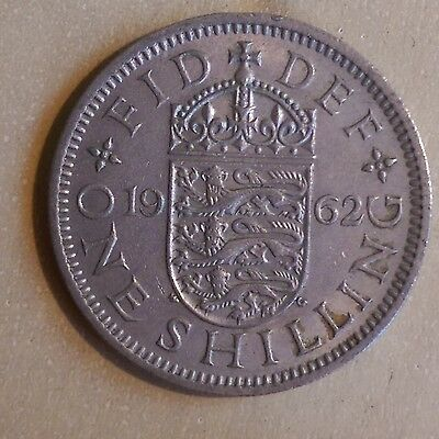 1962 British - English One Shilling coin - D4
