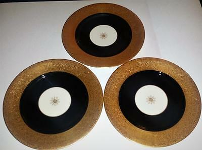 3 Heavily Gold Encrusted Old Ivory Syracuse China Service Cabinet Plates Rare