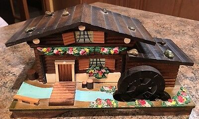 Vintage Wooden Swiss Cottage Jewelry Music Box Water Wheel Moves Works
