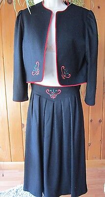 Vtg 70's LANZ Originals Wool Austrian Folklore Style Iconic Suit~Skirt & Vest 12