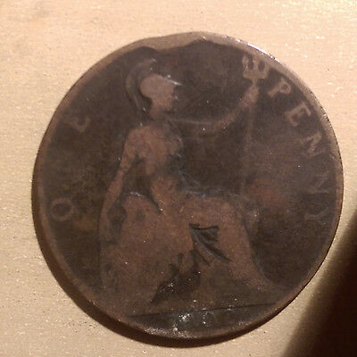 1902 English / British One Penny coin - @4