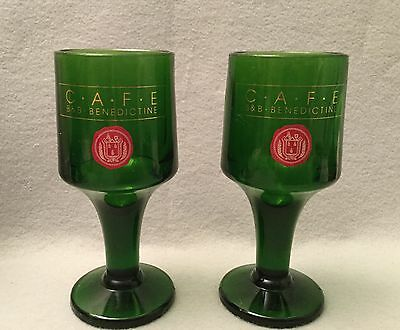 "CAFE B&B BENEDICTINE Emerald Green Glasses Set Of Two 5.75"" High Liquor Collect."