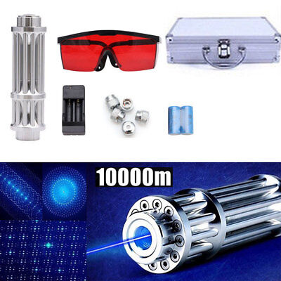 450nm Blue Beam Light Laser Pointer Lazer Military Pen 5 Heads Charger Goggles