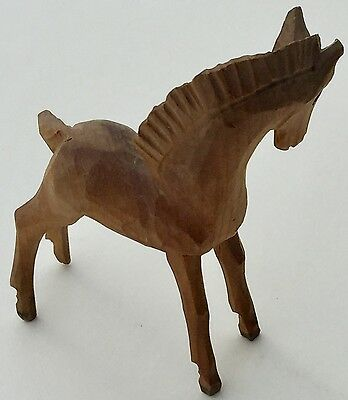 Small Hand Carved Wood HORSE FOWL Figure - Made In ITALY