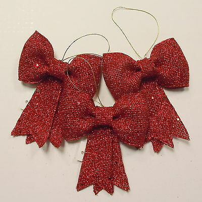 Set of 3 11cm Red Glitter Bows - Christmas Tree Home Decoration - Rigid Material