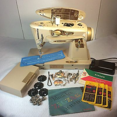 "Singer 500A Slant-O-Matic ""Rocketeer"" Sewing Machine + Tons Of Attachments & Acc"