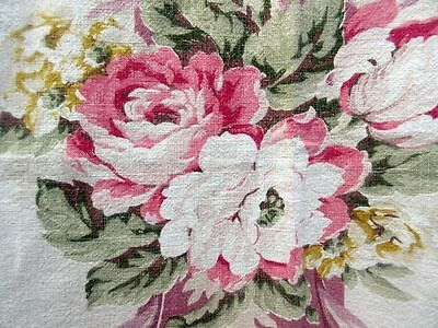 Vintage Shabby Pink Cabbage Rose Chic Barkcloth Fabric Material 48 x 44