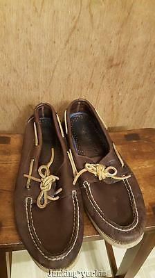 Sperry Top sider mens brown leather boat shoes size 11 1/2 M