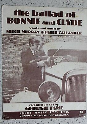 1967 VINTAGE Sheet Music - The Ballad of Bonnie and Clyde