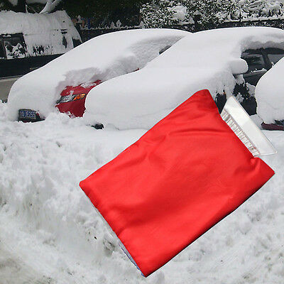 1x Car Snow Ice Shovel Scraper With Lined Glove Removal Clean Tool Red