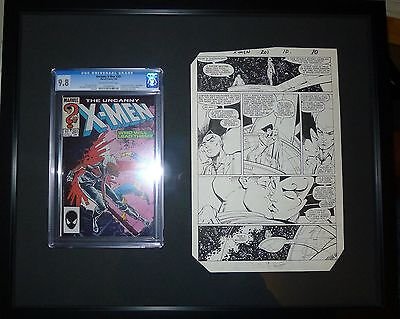 Uncanny X-Men #201 Page 10 Leonardi & Portacio original with a CGC 9.8 framed!!!