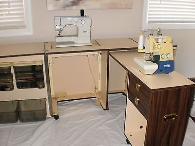 Elna Sewing Machine, Brother Overlocker and Horn Cabinet