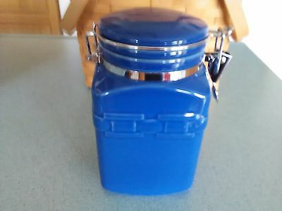 Longaberger Pottery Coffee Canister in Cornflower blue NEW in box