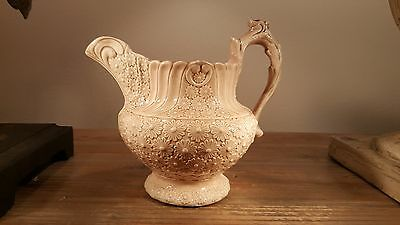 Beautiful & unique early 1800s Georgian DAISY glazed relief molded stoneware jug