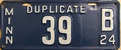 1924 Minnesota MN duplicate license plate #39  ( repainted on front side )