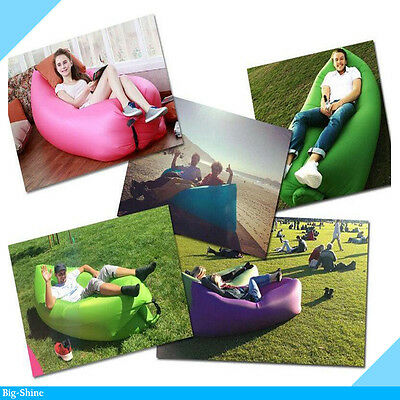 Inflatable Outdoor Air Bed Sleeping Bag Camping Portable Sofa - Blue Colour