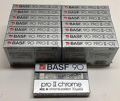 (15) New Sealed BASF 90 Pro II-CR Pure Chrome Cassette Tapes IEC II Made in USA