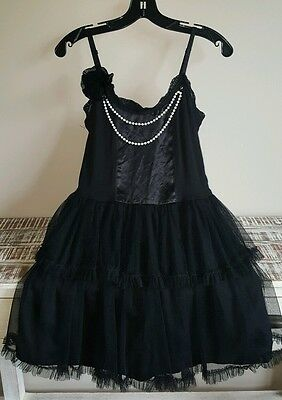 Black Mesh Overlay Layered Fitted Waist Detachable Pearls M  NWT