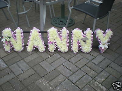 Nanny Artificial Silk Funeral Flower 5 Letter Wreath Memorial Floral Tribute