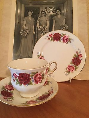 Antique Vintage Trio Cup Saucer Plate Afternoon Tea Queen Anne Pink Roses