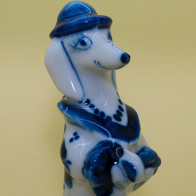 Porcelain DACHSHUND Lady Dog Figurine with umbrella hat Gzhel colors handmade