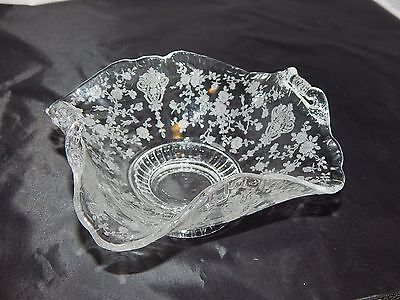 Cambridge Glass Rose Point Footed Handled Candy Bowl