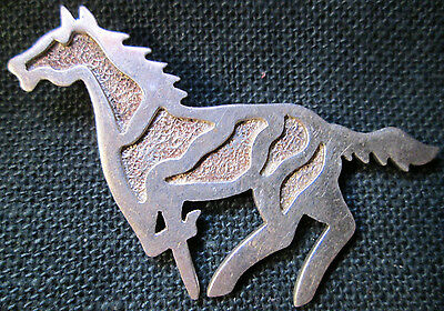 Galloping Wild Horse Pin STERLING Pin ARKIE NELSON NAVAJO SIGNATURE