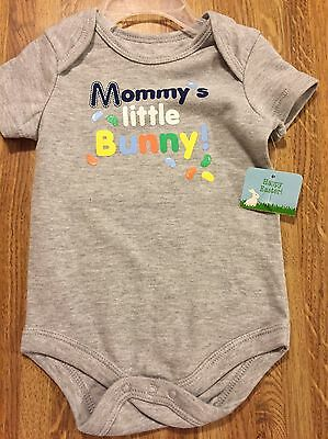 "Infant Size 0-3 M  "" Mommys Little Bunny"" One Piece   NWT Gray Easter Jelly Bean"