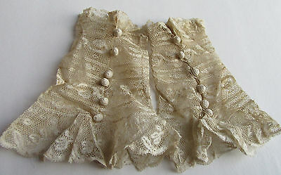 Pair Victorian Hand made Lace Ruffled Cuffs w Buttons