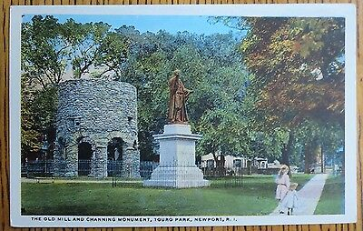 ~1920 Old Mill, Channing Monument, Touro Park, Newport, Rhode Island Postcard