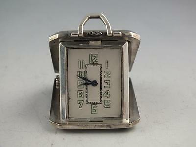 Antique Pop Open Sterling Silver Travel Purse Or Pendant Clock 15 Jewels