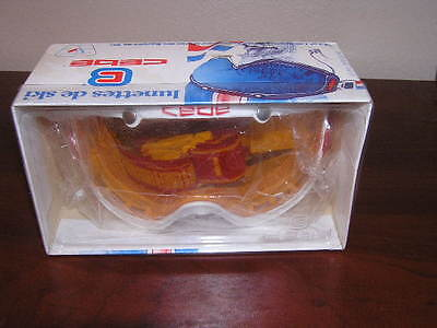 Vintage CEBE Ski Goggles Red Yellow And White NEW IN BOX