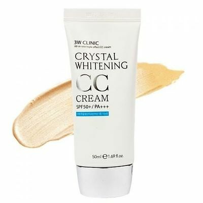 3W CLINIC Crystal Whitening CC Cream 50ml (SPF50+PA+++) Natural Beige - dodoshop