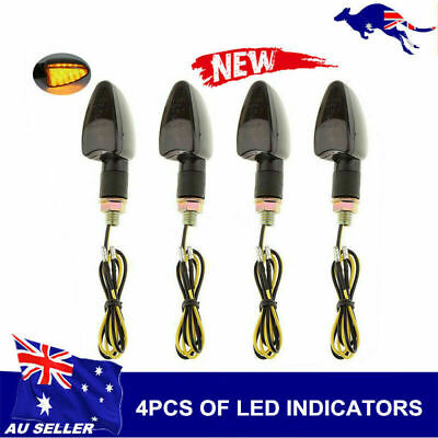 4x Motorcycle Scooter Front Tail 12V Turn Turning Signal Indicator Light  Black
