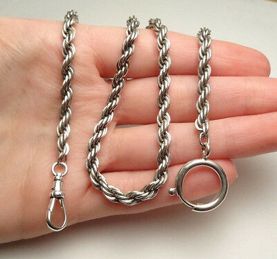 """STERLING SILVER POCKET WATCH HOLDER TWISTED CHAIN FOB SWIVEL CLASP 19 1/2"""" 36g"""